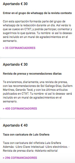 Recompensas del proyecto crowdfunding de CTXT para financiar una revista.